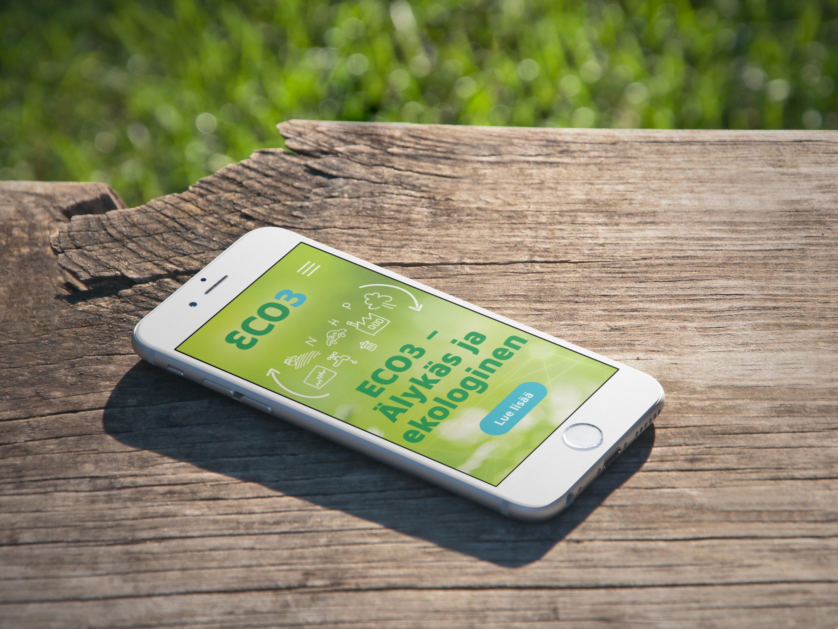Eco3.fi sivuston etusivu älypuhelimen näytöllä.