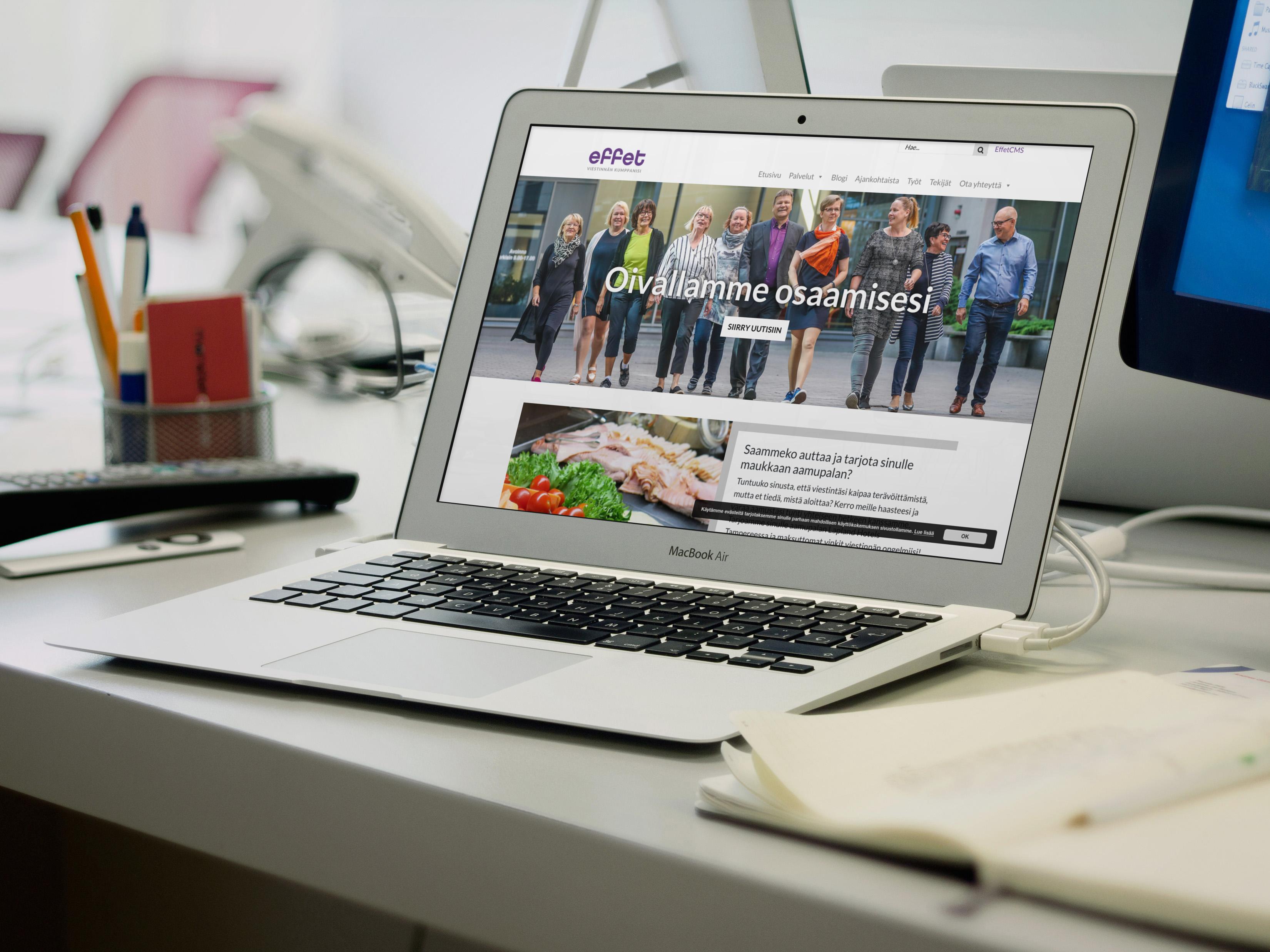 Effet.fi sivuston etusivu MacBook Airin näytöllä.